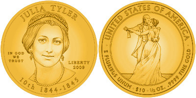 Julia Tyler First Spouse Gold Coin