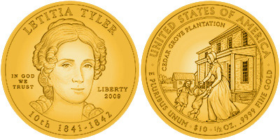Letitia Tyler First Spouse Gold Coin