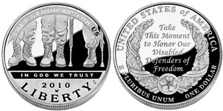 2010 Disabled Veterans Silver Dollar