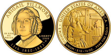 Abigail Fillmroe First Spouse Gold Coin